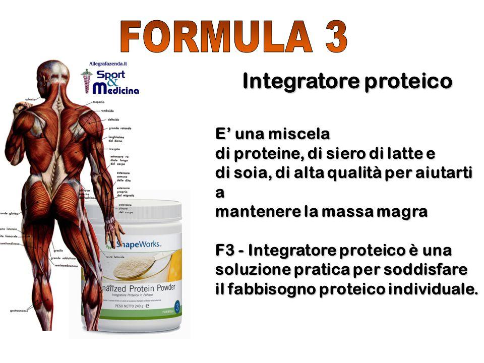 E' una miscela di proteine, di siero di latte e di soia, di alta qualità per aiutarti a mantenere la massa magra F3 - Integratore proteico è una soluz