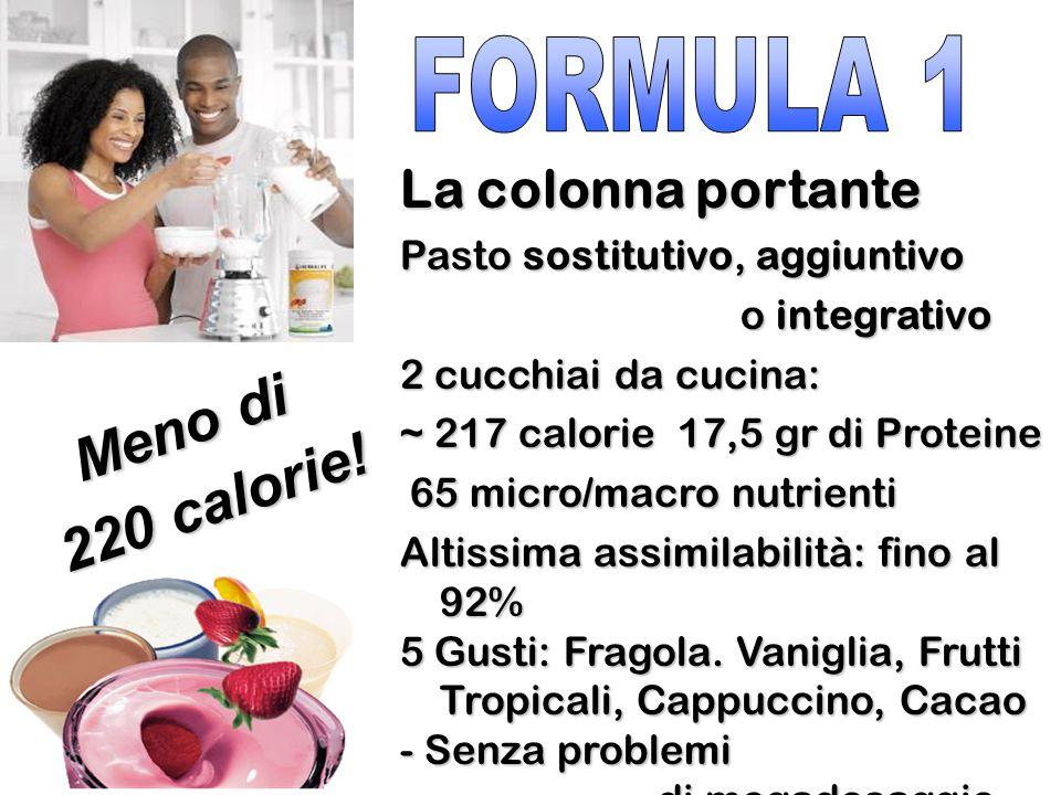 La colonna portante Pasto sostitutivo, aggiuntivo o integrativo o integrativo 2 cucchiai da cucina: ~ 217 calorie 17,5 gr di Proteine 65 micro/macro n