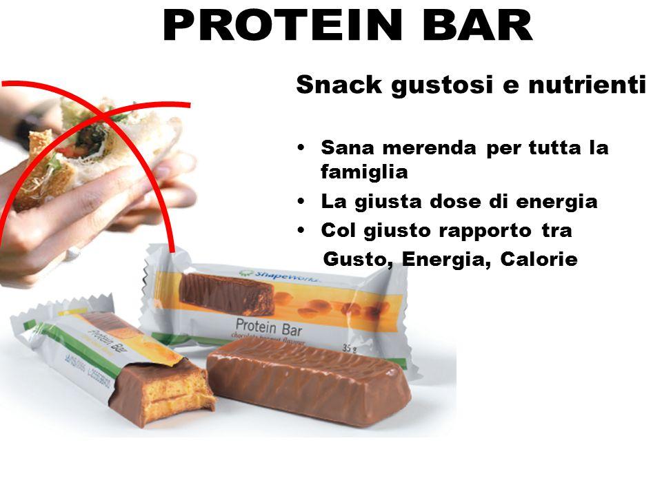Snack gustosi e nutrienti Sana merenda per tutta la famiglia La giusta dose di energia Col giusto rapporto tra Gusto, Energia, Calorie