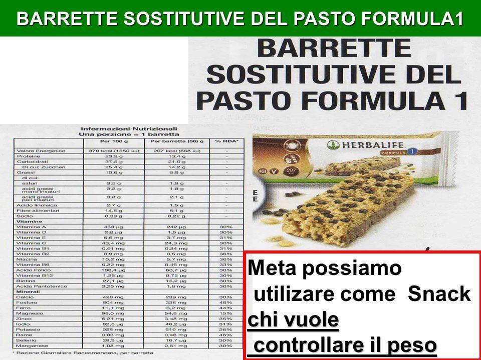 BARRETTE SOSTITUTIVE DEL PASTO FORMULA1 Meta possiamo utilizare come Snack chi vuole controllare il peso controllare il peso