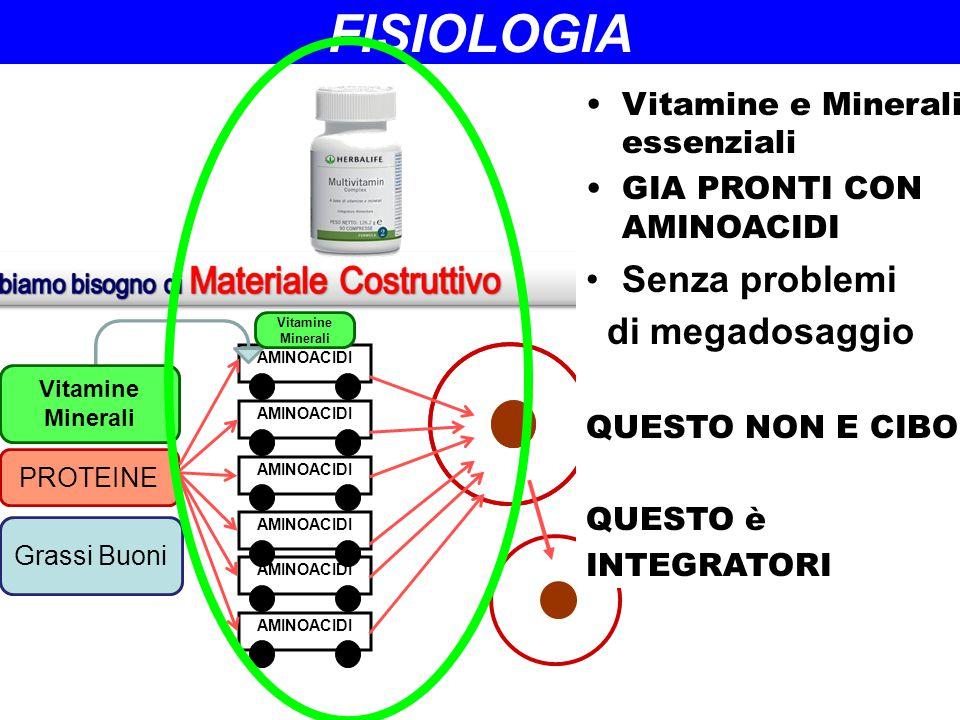 AMINOACIDI PROTEINE Grassi Buoni Vitamine Minerali Vitamine Minerali FISIOLOGIA Vitamine e Minerali essenziali GIA PRONTI CON AMINOACIDI Senza problem