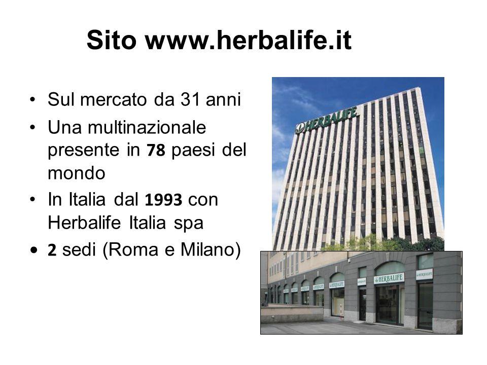 Sul mercato da 31 anni Una multinazionale presente in 78 paesi del mondo In Italia dal 1993 con Herbalife Italia spa 2 sedi (Roma e Milano) Sito www.herbalife.it