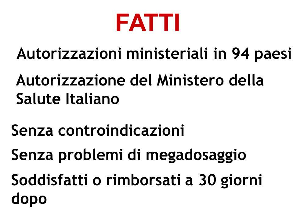 Autorizzazioni ministeriali in 94 paesi Autorizzazione del Ministero della Salute Italiano Senza controindicazioni Senza problemi di megadosaggio Sodd