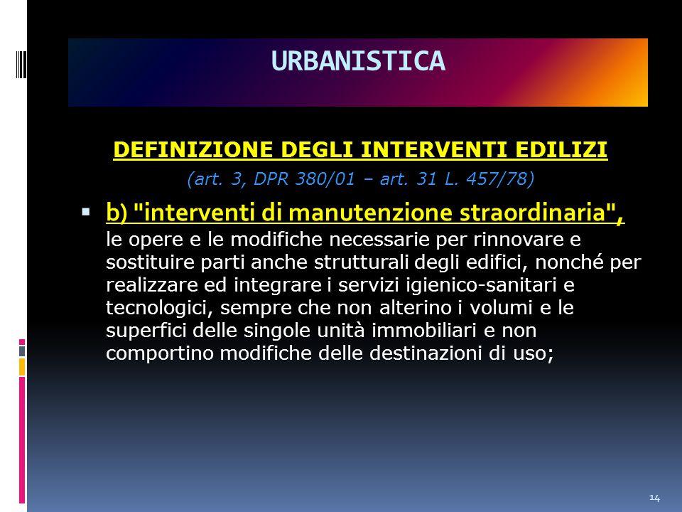 DEFINIZIONE DEGLI INTERVENTI EDILIZI (art.3, DPR 380/01 – art.