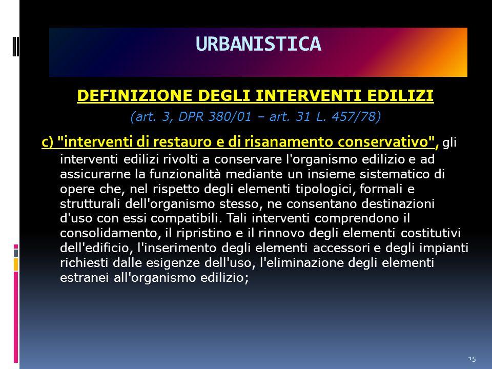 URBANISTICA DEFINIZIONE DEGLI INTERVENTI EDILIZI (art.