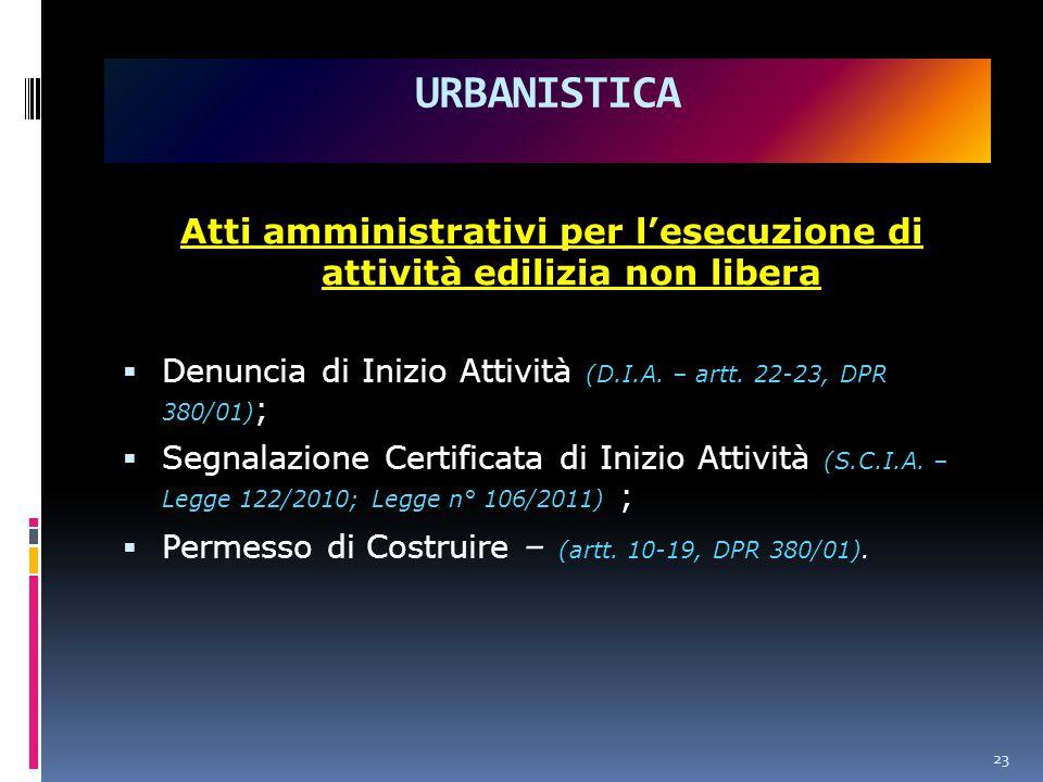 Atti amministrativi per l'esecuzione di attività edilizia non libera  Denuncia di Inizio Attività (D.I.A.