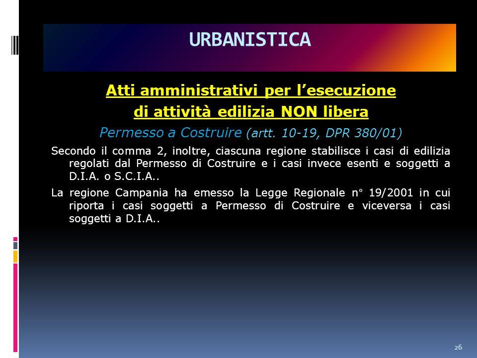 Atti amministrativi per l'esecuzione di attività edilizia NON libera Permesso a Costruire (artt.