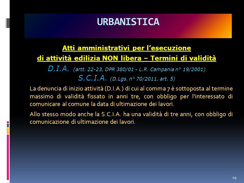 Atti amministrativi per l'esecuzione di attività edilizia NON libera – Termini di validità D.I.A.