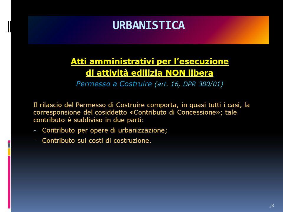 38 URBANISTICA Atti amministrativi per l'esecuzione di attività edilizia NON libera Permesso a Costruire (art.