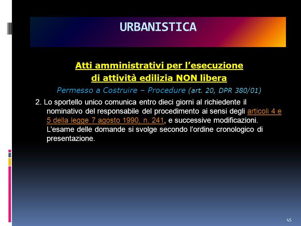 45 URBANISTICA Atti amministrativi per l'esecuzione di attività edilizia NON libera Permesso a Costruire – Procedure (art.