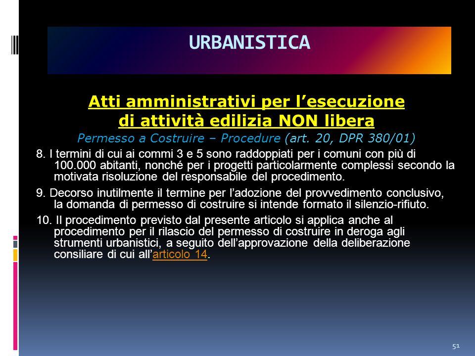 Atti amministrativi per l'esecuzione di attività edilizia NON libera Permesso a Costruire – Procedure (art.