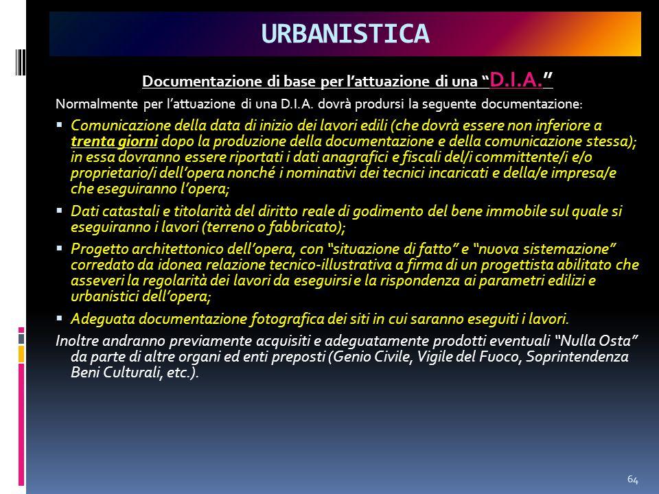 URBANISTICA Documentazione di base per l'attuazione di una D.I.A. Normalmente per l'attuazione di una D.I.A.