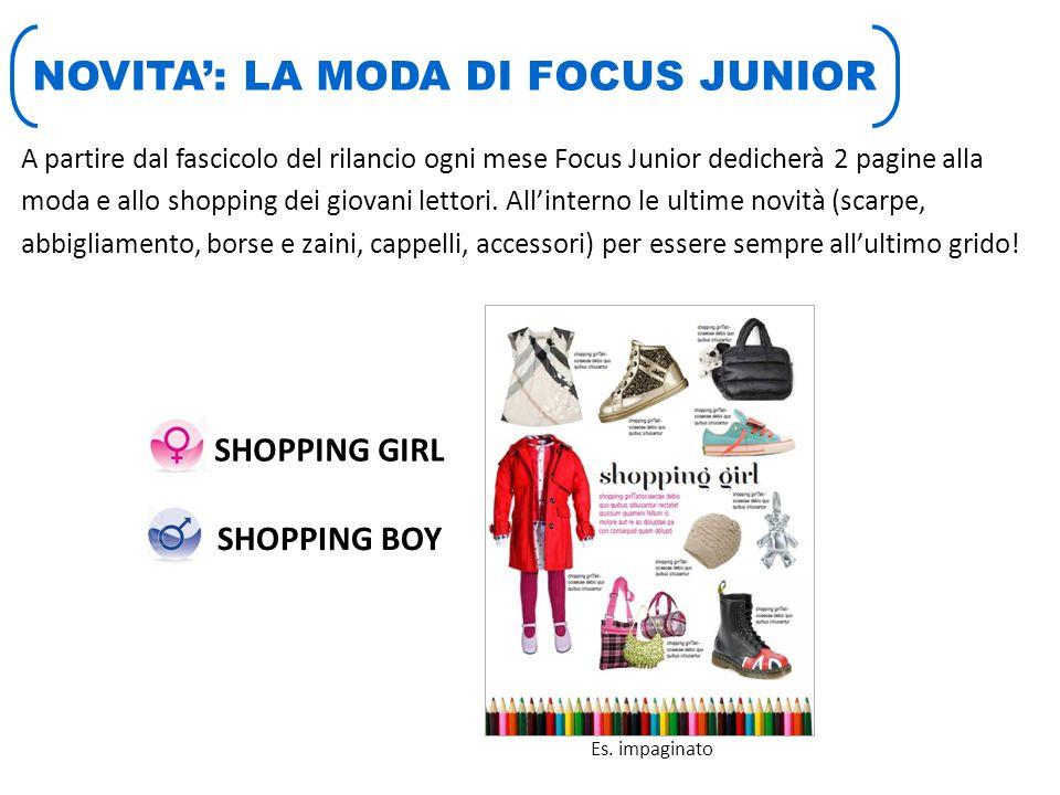 NOVITA': LA MODA DI FOCUS JUNIOR A partire dal fascicolo del rilancio ogni mese Focus Junior dedicherà 2 pagine alla moda e allo shopping dei giovani lettori.