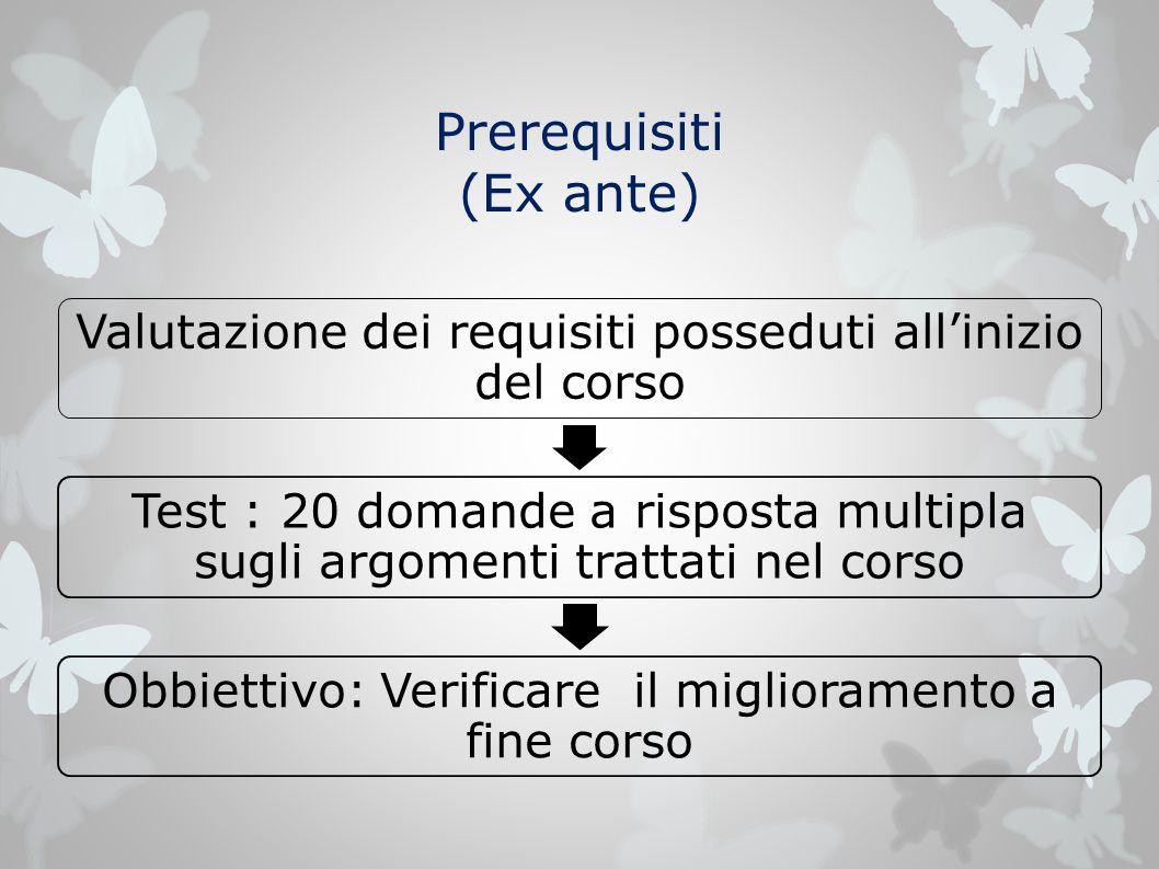 Prerequisiti (Ex ante) Valutazione dei requisiti posseduti all'inizio del corso Test : 20 domande a risposta multipla sugli argomenti trattati nel cor