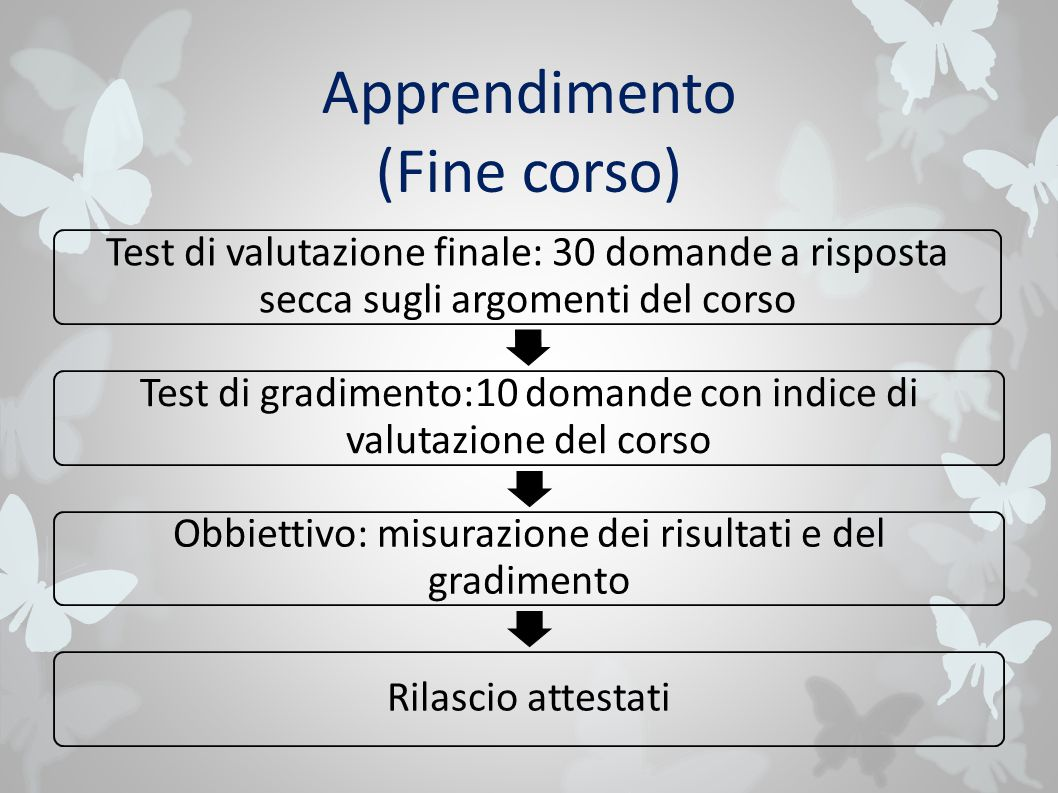 Apprendimento (Fine corso) Test di valutazione finale: 30 domande a risposta secca sugli argomenti del corso Test di gradimento:10 domande con indice