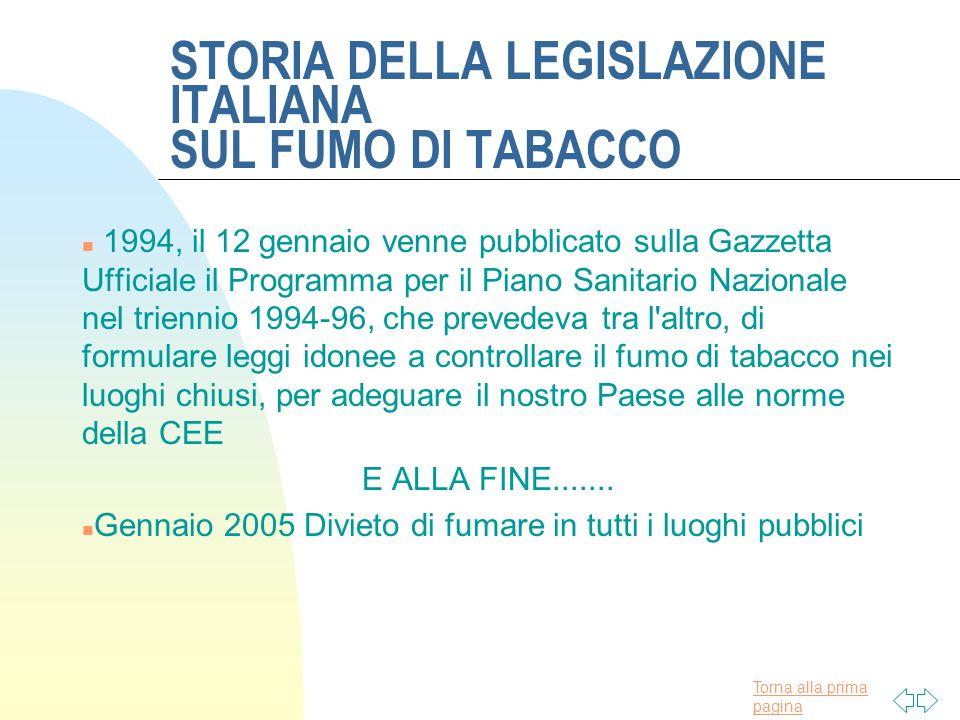 Torna alla prima pagina STORIA DELLA LEGISLAZIONE ITALIANA SUL FUMO DI TABACCO n 1990, il 17 maggio una Direttiva del Consiglio dei Ministri successiva a una legge CEE, stabiliva che entro il 1992 il contenuto di catrame delle sigarette non potesse superare i 15 mg.