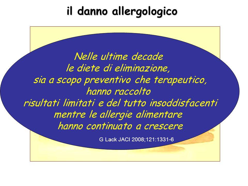 il danno allergologico Nelle ultime decade le diete di eliminazione, sia a scopo preventivo che terapeutico, hanno raccolto risultati limitati e del tutto insoddisfacenti mentre le allergie alimentare hanno continuato a crescere G Lack JACI 2008;121:1331-6