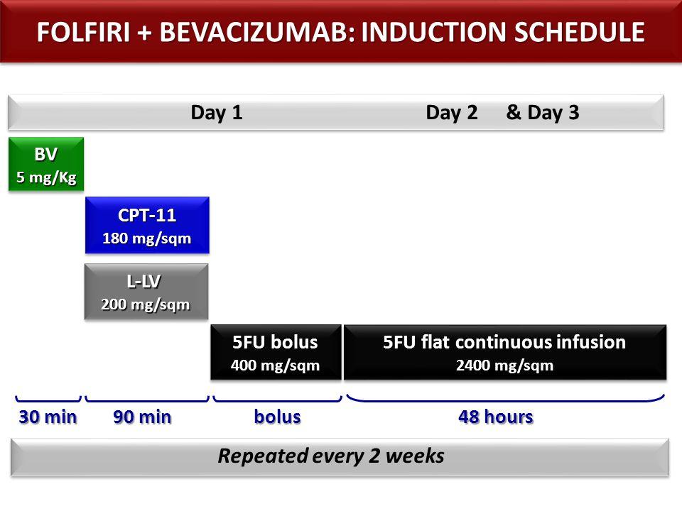 5FU flat continuous infusion 2400 - 3200 mg/sqm 5FU flat continuous infusion 2400 - 3200 mg/sqm Repeated every 2 weeks 48 hours Day 1 Day 2 & Day 3 90 min BV 5 mg/Kg BV 30 min 5FU/LV + BEVACIZUMAB: MAINTENANCE SCHEDULE L-LV 200 mg/sqm L-LV