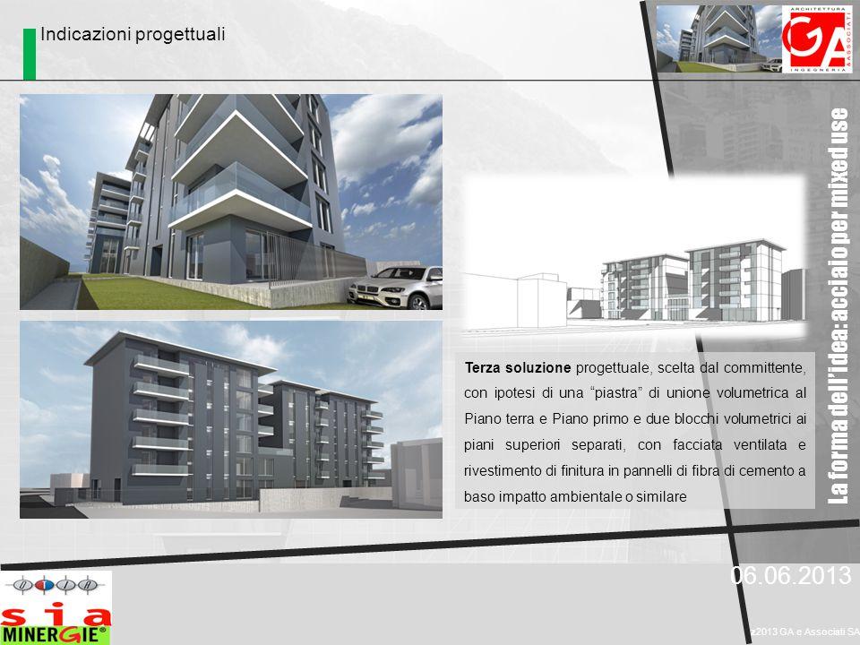 La forma dell'idea: acciaio per mixed use 06.06.2013 z2013 GA e Associati SA Indicazioni progettuali Terza soluzione progettuale, scelta dal committen