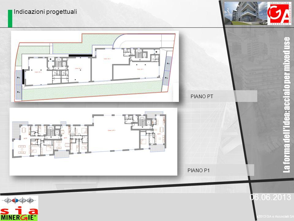 La forma dell'idea: acciaio per mixed use 06.06.2013 z2013 GA e Associati SA PIANO P1 PIANO PT Indicazioni progettuali
