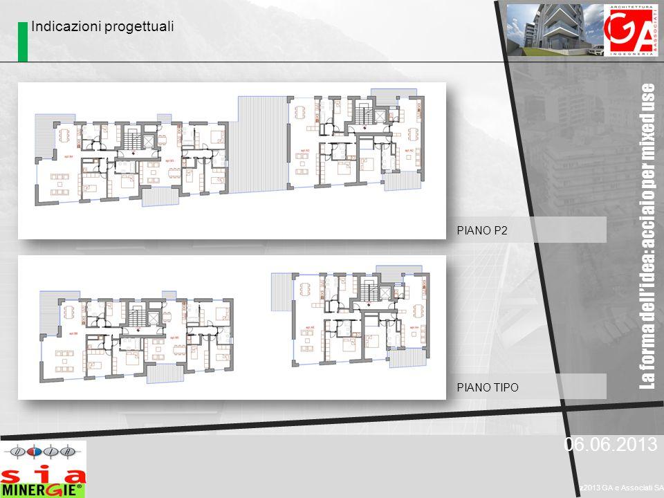 La forma dell'idea: acciaio per mixed use 06.06.2013 z2013 GA e Associati SA PIANO TIPO PIANO P2 Indicazioni progettuali