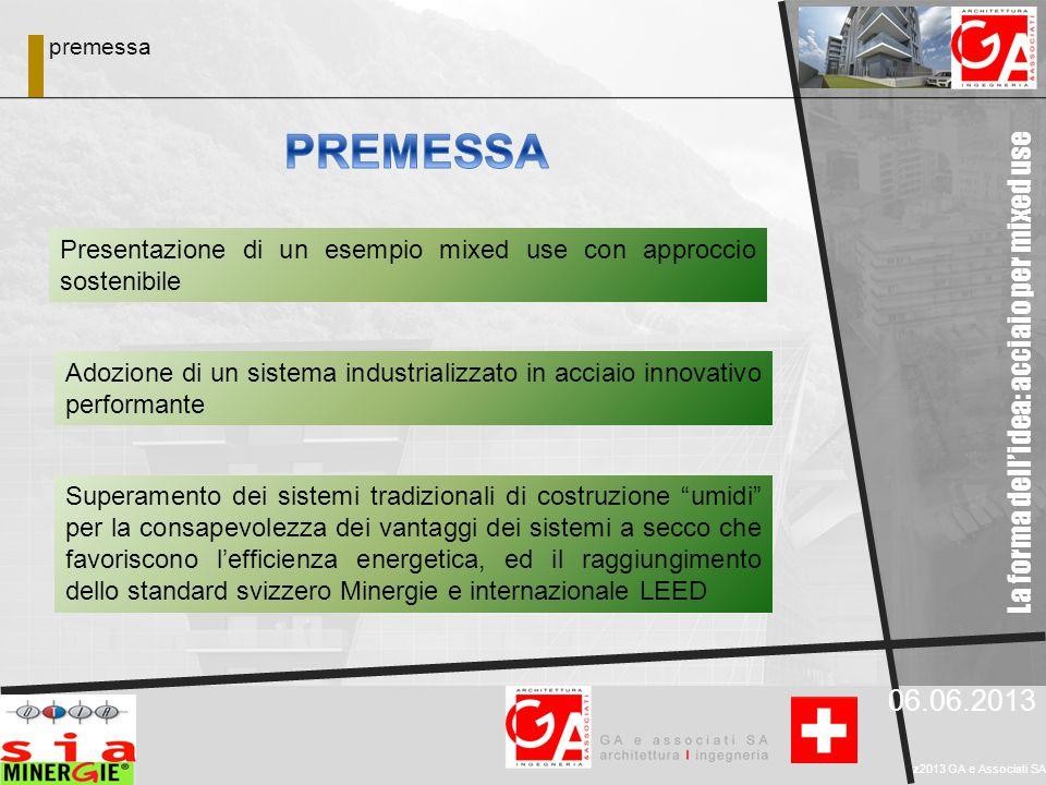 06.06.2013 z2013 GA e Associati SA Presentazione di un esempio mixed use con approccio sostenibile Adozione di un sistema industrializzato in acciaio