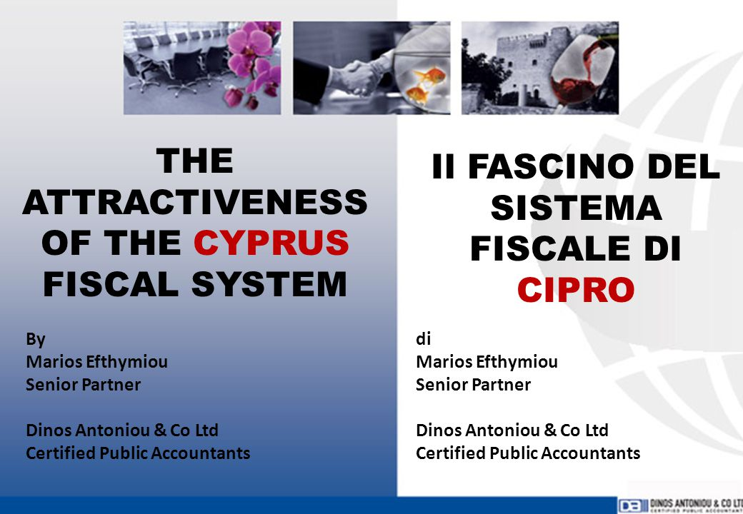 PHILOSOPHY & TAX BASE PHYSICAL PERSONS CYPRUS TAX RESIDENTS ARE TAXED ON THEIR WORLDWIDE INCOME NON TAX RESIDENTS ARE ONLY TAXED ON THEIR INCOME EARNED IN CYPRUS TAX RESIDENT RULE A PHYSICAL PERSON IS CONSIDERED CYPRUS TAX RESIDENT IF HE/SHE RESIDES IN THE REPUBLIC OVER 183 DAYS IN A YEAR FILOSOFIA & BASE FISCALE PERSONE FISICHE I RESIDENTI FISCALI A CIPRO SONO TASSATI SUI LORO REDDITI GLOBALI I NON RESIDENTI FISCALI SONO TASSATI ESCLUSIVIMANTE SUI LORO REDDITI PERCEPITI A CIPRO NORME SUI RESIDENTI FISCALI UNA PERSONA FISICA E' CONSIDERATA RESIDENTE FISCALE A CIPRO SE RISIEDE NELLA REPUBBLICA DI CIPRO PER OLTRE 183 GIORNI ALL'ANNO