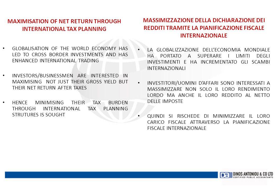 INTERNATIONAL JURISDICTIONS OFFSHORE JURISDICTIONS ( TAX HEAVENS) OFFSHORE JURISDICTIONS ( TAX HEAVENS) – British Virgin Islands – Belize – Panama – Seychelles – Delaware – And many others ONSHORE JURISDICTIONS ONSHORE JURISDICTIONS (TAX BURDEN REDUCED THROUGH COMPLICATED TAX BUSINESS STRUCTURES - HOLDING JURISDICTIONS) – Cyprus – United Kingdom – Luxembourg – Switzerland – Netherlands – Malta COMPETENZE GIURISDIZIONALI INTERNAZIONALI GIURISDIZIONI OFFSHORE ( PARADISI FISCALI) GIURISDIZIONI OFFSHORE ( PARADISI FISCALI) – Isole Vergini Britanniche – Belize – Panama – Seychelles – Delaware – E molti altri GIURISDIZIONI ONSHORE GIURISDIZIONI ONSHORE (CARICO FISCALE RIDOTTO ATTRAVERSO COMPLICATE MODALITA' DI TASSAZIONE DIRETTA SULLE IMPRESE- GIUSRISDIZIONI DELLE HOLDING) – Cipro – Regno Unito – Lussemburgo – Svizzera – Olanda – Malta
