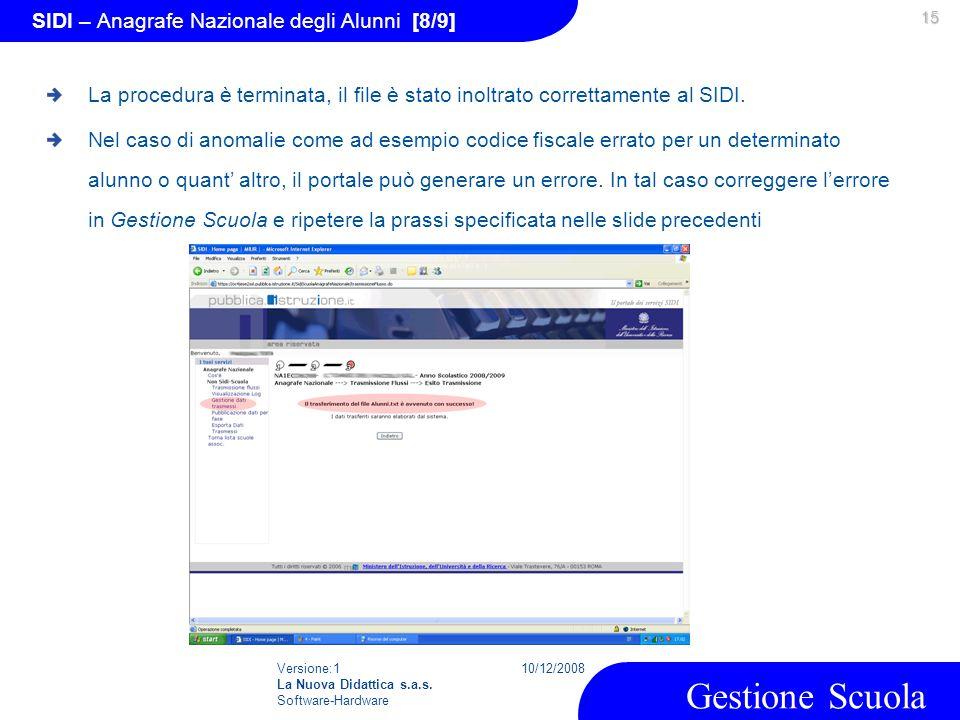 Versione:1 La Nuova Didattica s.a.s. Software-Hardware 10/12/2008 Gestione Scuola 15 SIDI – Anagrafe Nazionale degli Alunni [8/9] La procedura è termi