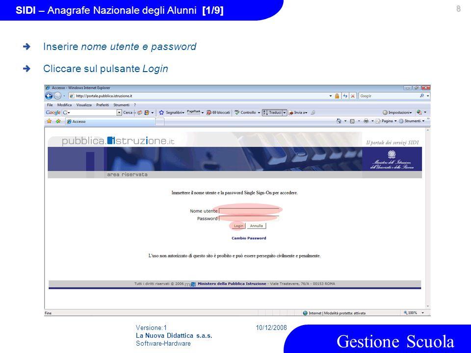 Versione:1 La Nuova Didattica s.a.s. Software-Hardware 10/12/2008 Gestione Scuola 8 SIDI – Anagrafe Nazionale degli Alunni [1/9] Inserire nome utente