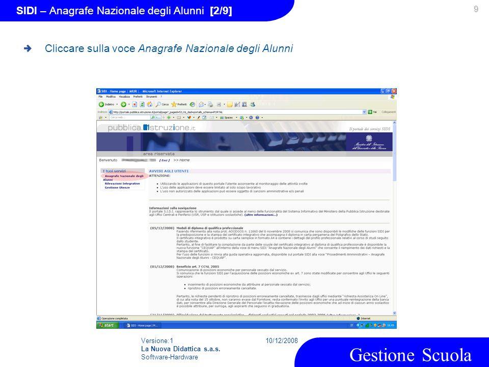 Versione:1 La Nuova Didattica s.a.s. Software-Hardware 10/12/2008 Gestione Scuola 9 SIDI – Anagrafe Nazionale degli Alunni [2/9] Cliccare sulla voce A