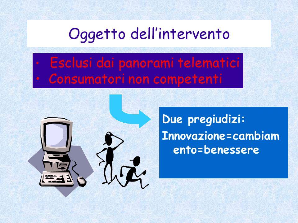 Esclusi dai panorami telematici Consumatori non competenti Oggetto dell'intervento Due pregiudizi: Innovazione=cambiam ento=benessere