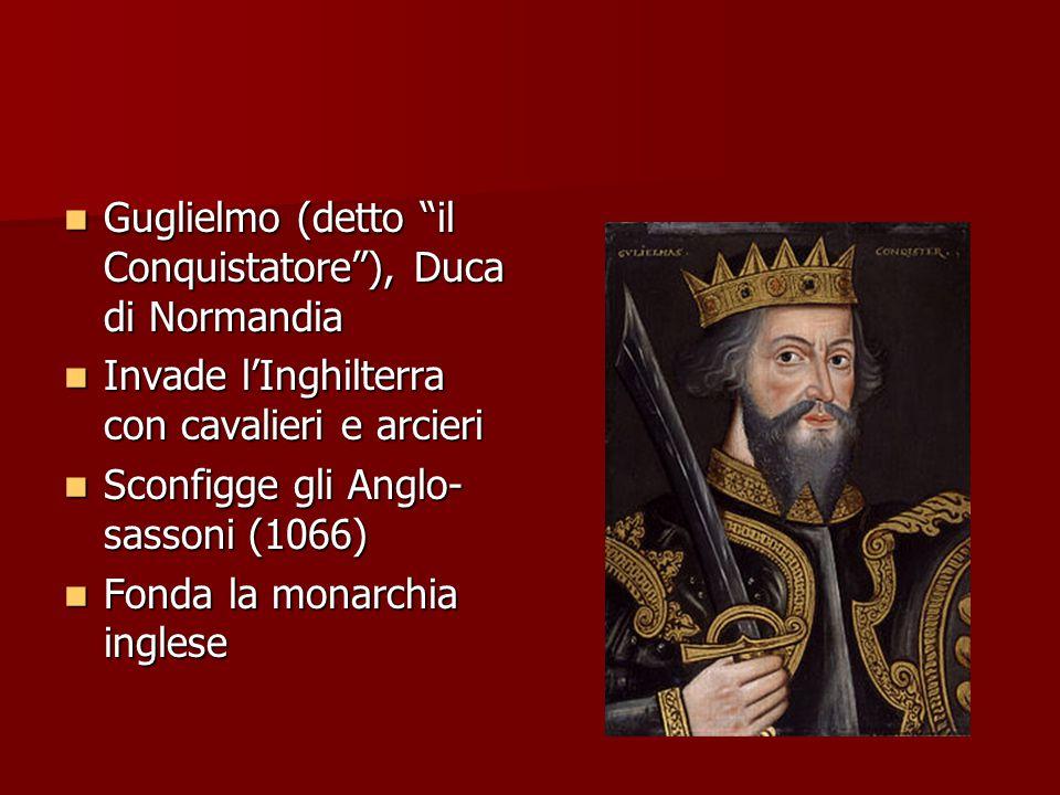 """Guglielmo (detto """"il Conquistatore""""), Duca di Normandia Guglielmo (detto """"il Conquistatore""""), Duca di Normandia Invade l'Inghilterra con cavalieri e a"""