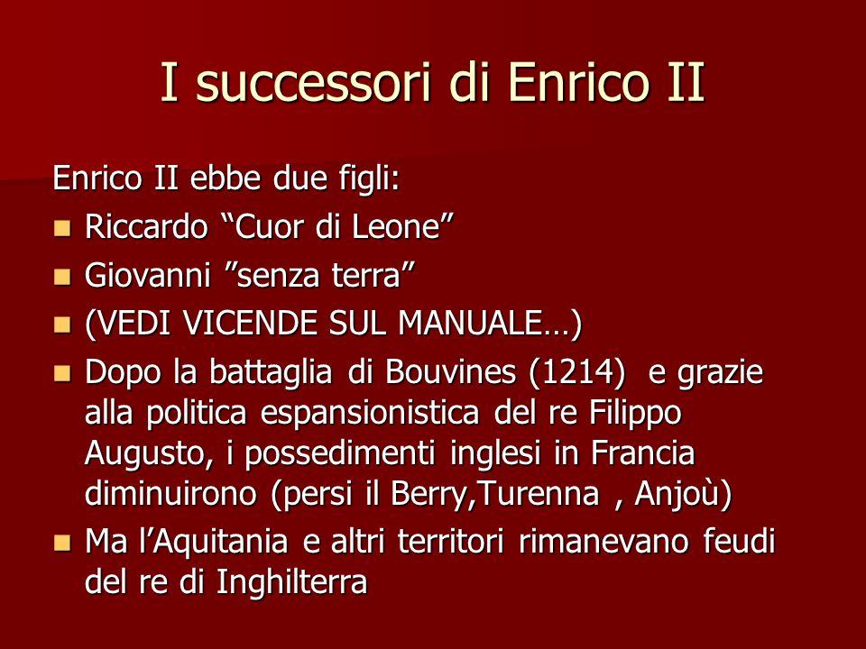 """I successori di Enrico II Enrico II ebbe due figli: Riccardo """"Cuor di Leone"""" Riccardo """"Cuor di Leone"""" Giovanni """"senza terra"""" Giovanni """"senza terra"""" (V"""