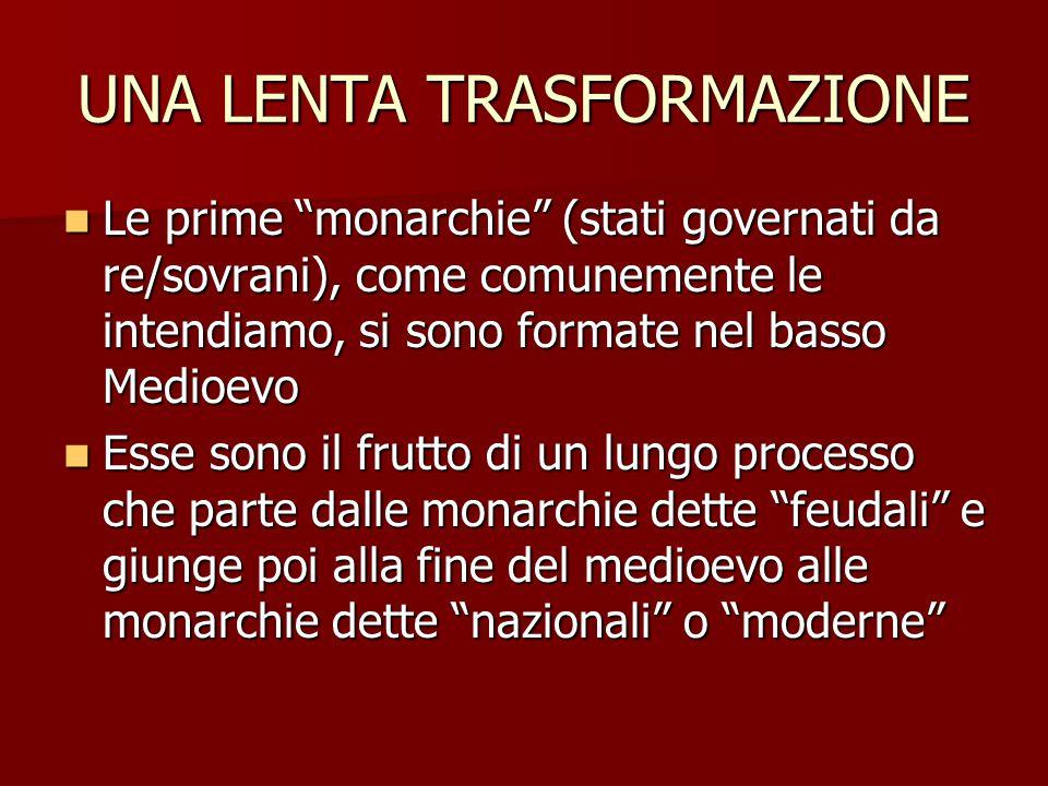 """UNA LENTA TRASFORMAZIONE Le prime """"monarchie"""" (stati governati da re/sovrani), come comunemente le intendiamo, si sono formate nel basso Medioevo Le p"""