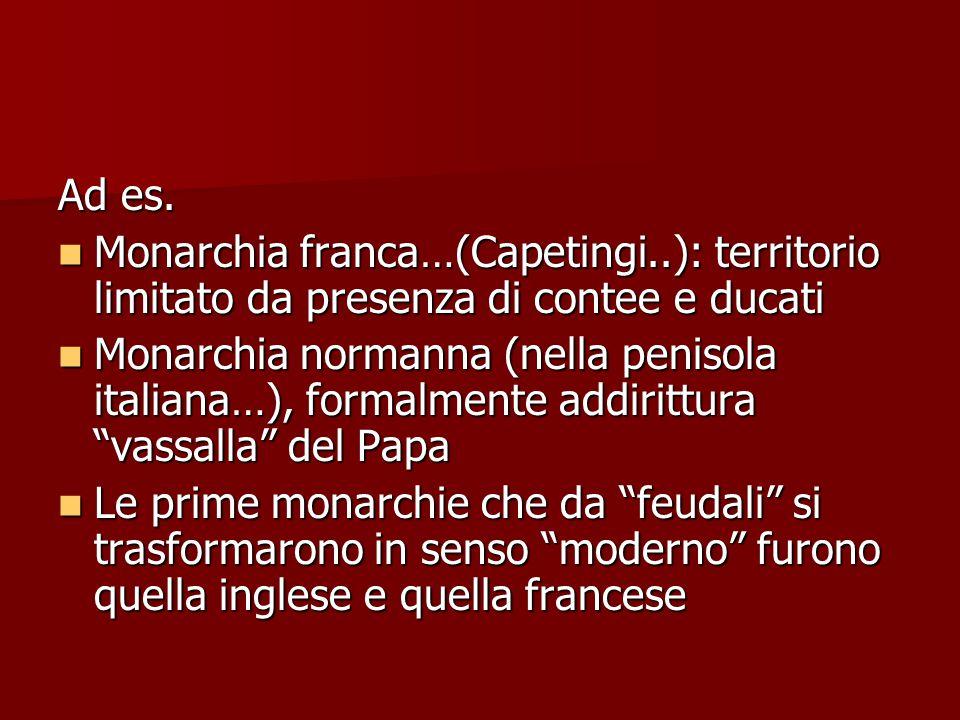 Ad es. Monarchia franca…(Capetingi..): territorio limitato da presenza di contee e ducati Monarchia franca…(Capetingi..): territorio limitato da prese