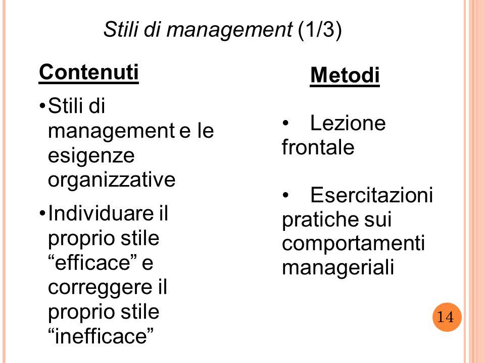 """14 Stili di management (1/3) Contenuti Stili di management e le esigenze organizzative Individuare il proprio stile """"efficace"""" e correggere il proprio"""