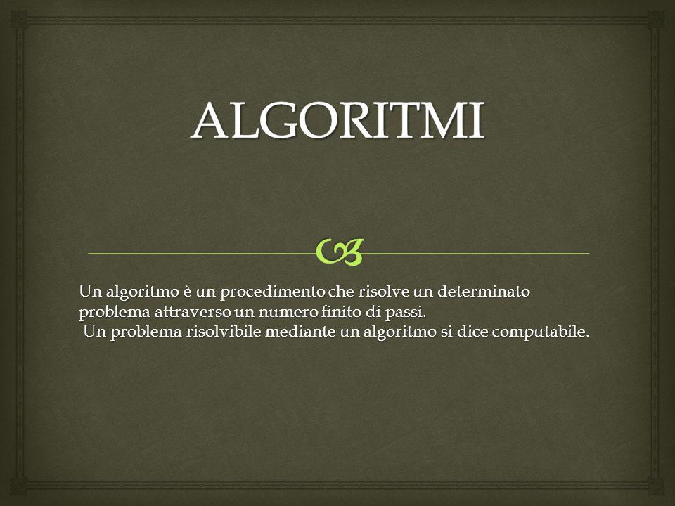 Un algoritmo è un procedimento che risolve un determinato problema attraverso un numero finito di passi.