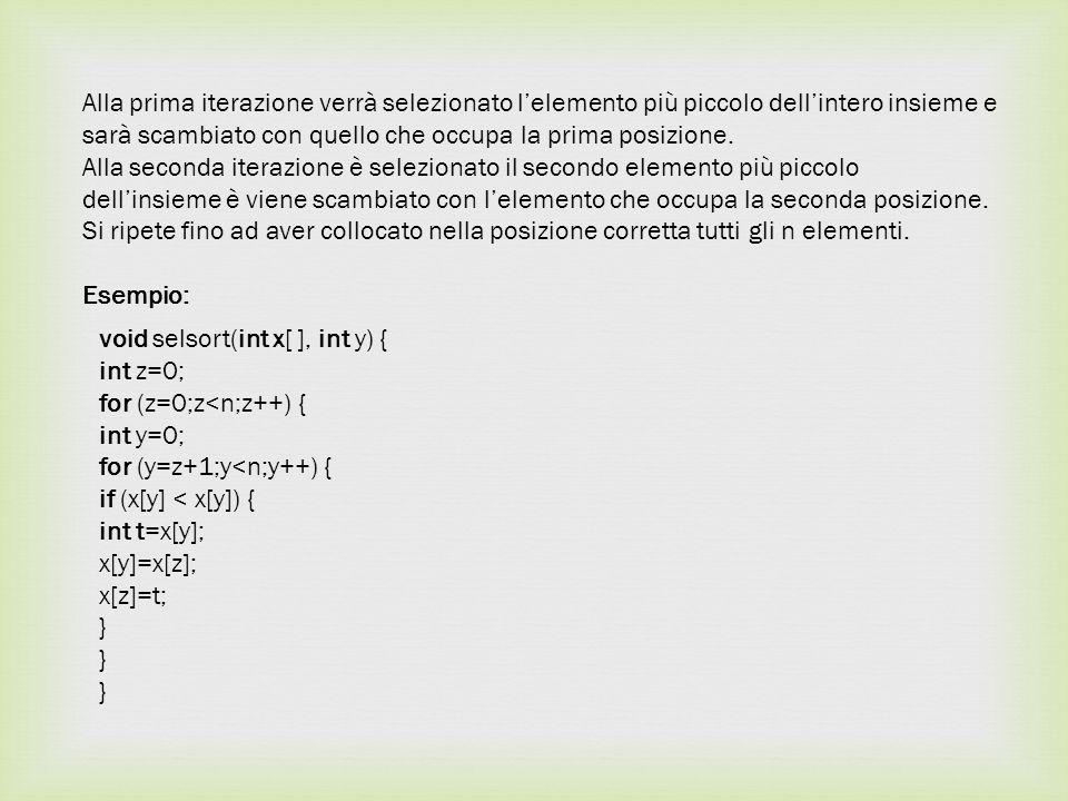  Inserction Sort L Insertion sort, in italiano ordinamento a inserimento, è un algoritmo relativamente semplice per ordinare un array.