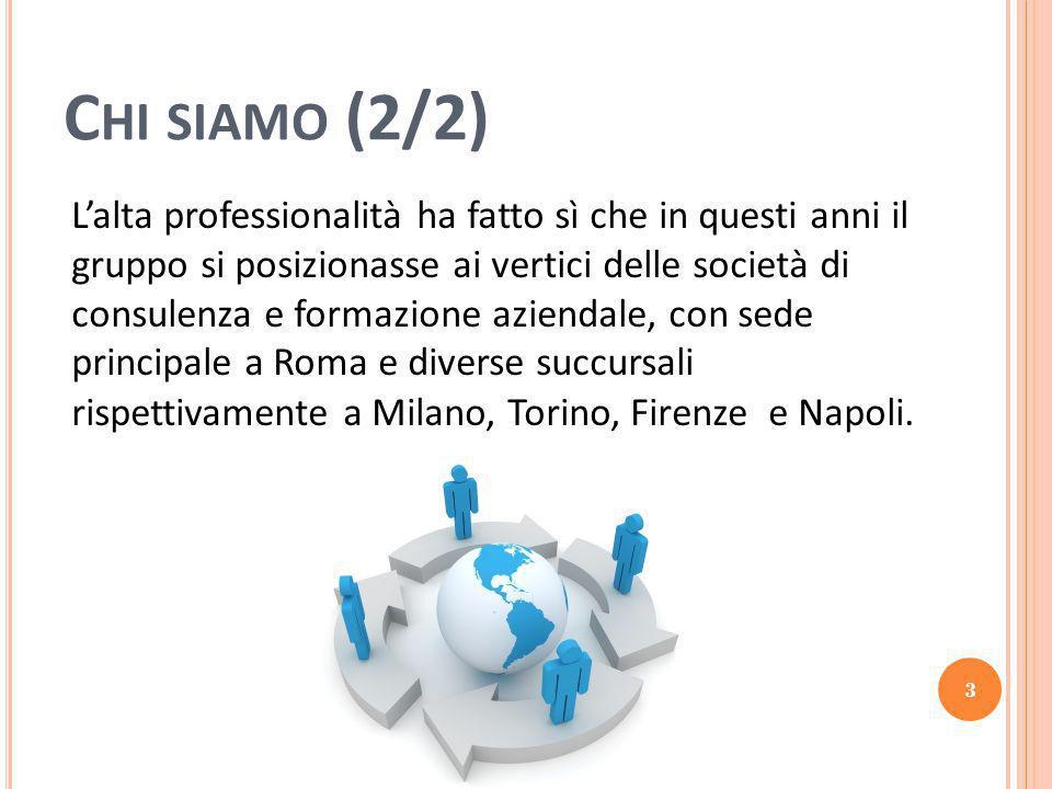 C HI SIAMO (2/2) L'alta professionalità ha fatto sì che in questi anni il gruppo si posizionasse ai vertici delle società di consulenza e formazione aziendale, con sede principale a Roma e diverse succursali rispettivamente a Milano, Torino, Firenze e Napoli.