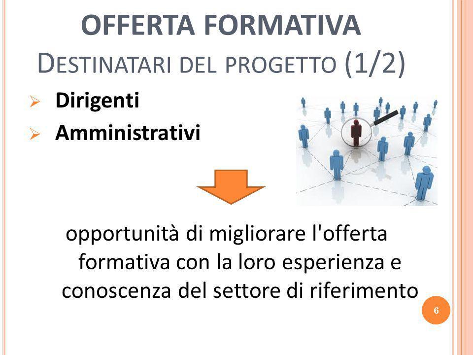 OFFERTA FORMATIVA D ESTINATARI DEL PROGETTO (1/2)  Dirigenti  Amministrativi opportunità di migliorare l offerta formativa con la loro esperienza e conoscenza del settore di riferimento 6