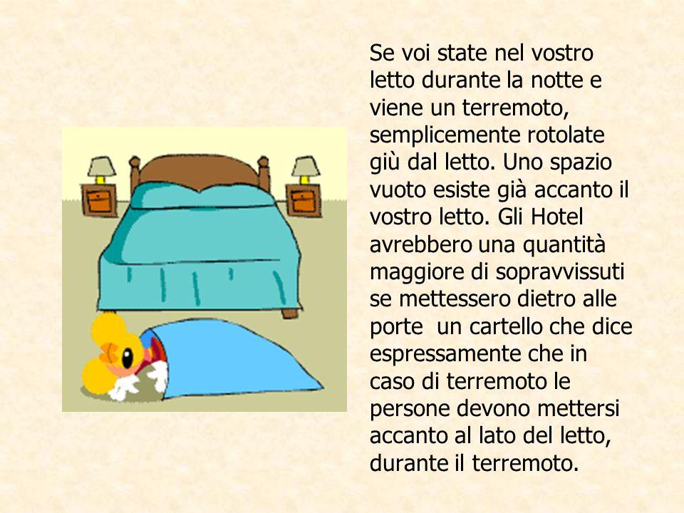 Se voi state nel vostro letto durante la notte e viene un terremoto, semplicemente rotolate giù dal letto.