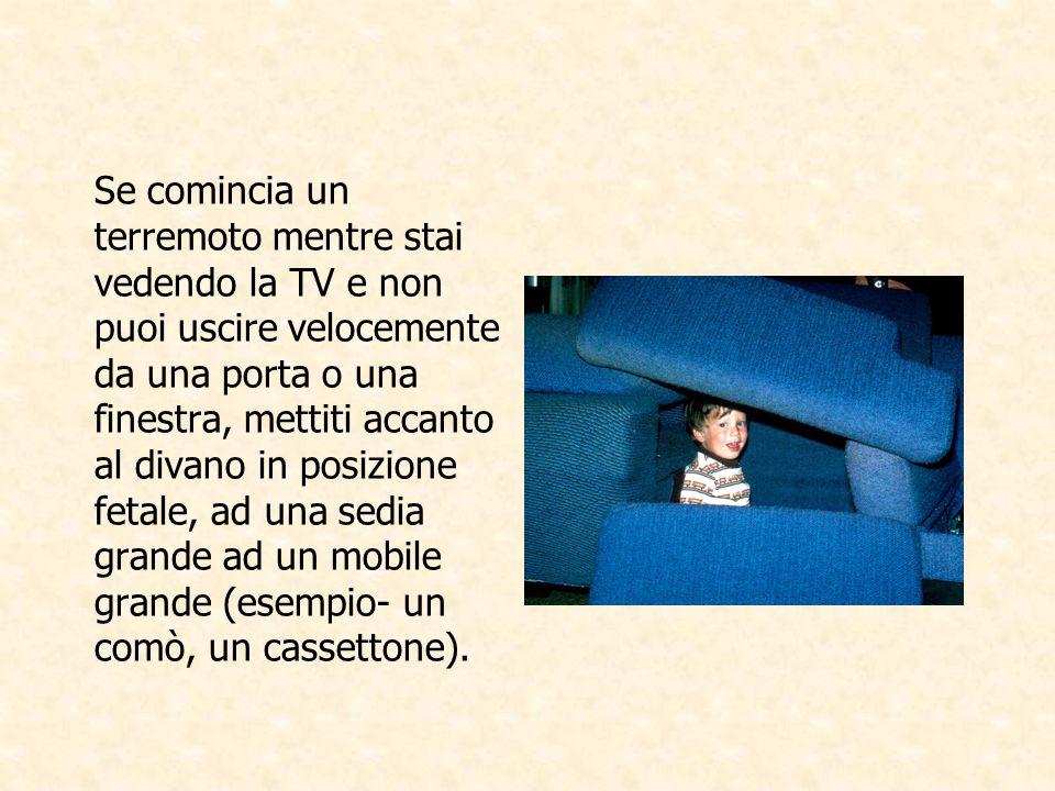 Se comincia un terremoto mentre stai vedendo la TV e non puoi uscire velocemente da una porta o una finestra, mettiti accanto al divano in posizione fetale, ad una sedia grande ad un mobile grande (esempio- un comò, un cassettone).
