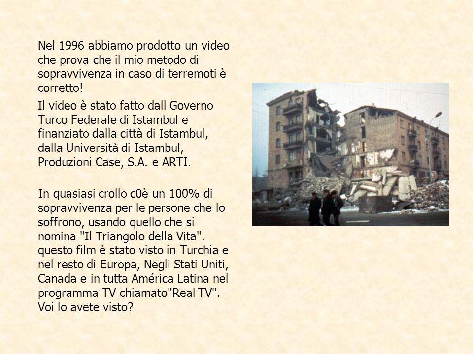 Nel 1996 abbiamo prodotto un video che prova che il mio metodo di sopravvivenza in caso di terremoti è corretto.