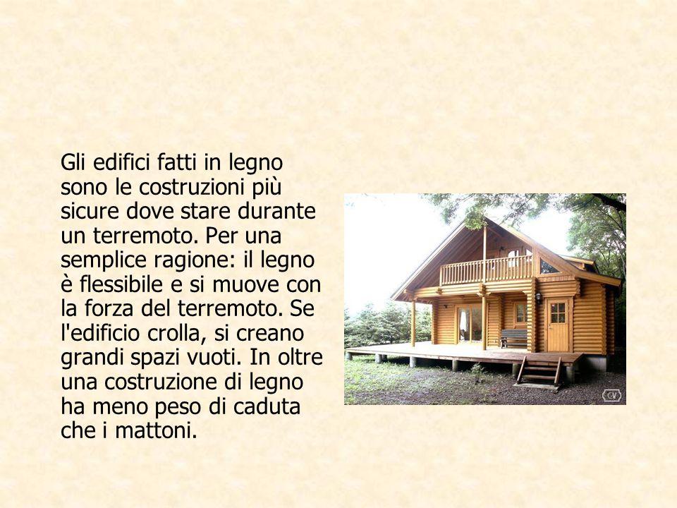 Gli edifici fatti in legno sono le costruzioni più sicure dove stare durante un terremoto.