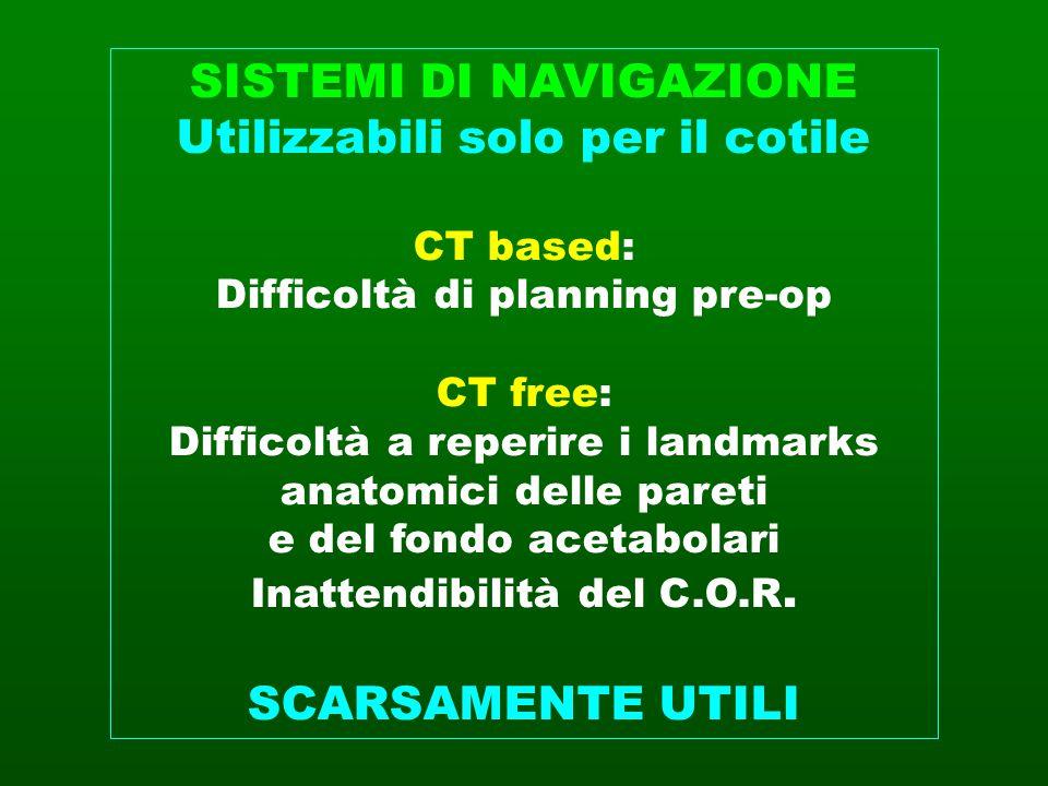 SISTEMI DI NAVIGAZIONE Utilizzabili solo per il cotile CT based: Difficoltà di planning pre-op CT free: Difficoltà a reperire i landmarks anatomici de