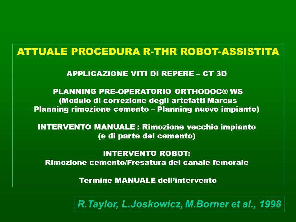 ATTUALE PROCEDURA R-THR ROBOT-ASSISTITA APPLICAZIONE VITI DI REPERE – CT 3D PLANNING PRE-OPERATORIO ORTHODOC® WS (Modulo di correzione degli artefatti
