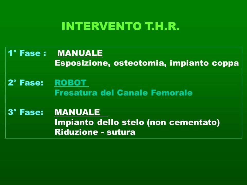 INTERVENTO T.H.R. 1° Fase : MANUALE Esposizione, osteotomia, impianto coppa 2° Fase: ROBOT Fresatura del Canale Femorale 3° Fase: MANUALE Impianto del