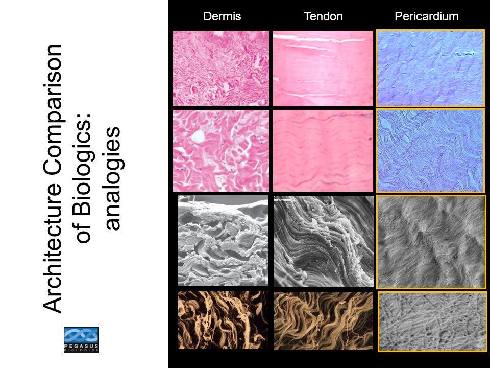 DermisTendonPericardium Architecture Comparison of Biologics: analogies