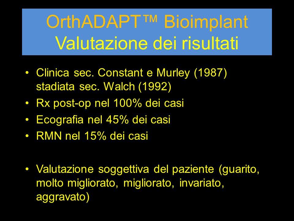 OrthADAPT™ Bioimplant Valutazione dei risultati Clinica sec. Constant e Murley (1987) stadiata sec. Walch (1992) Rx post-op nel 100% dei casi Ecografi